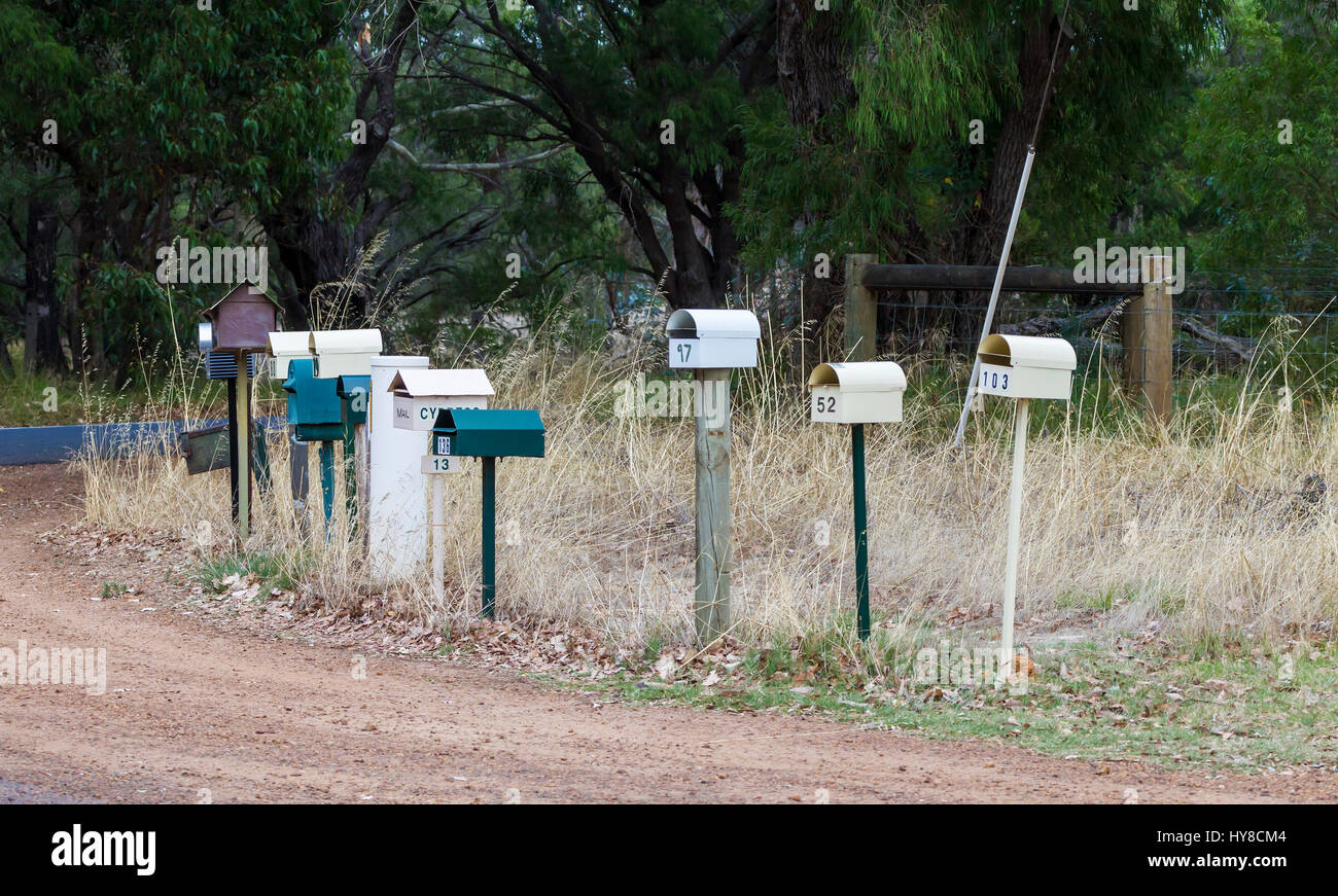 Postboxes on the corner of Cavess road,  in South Western Australia - Stock Image