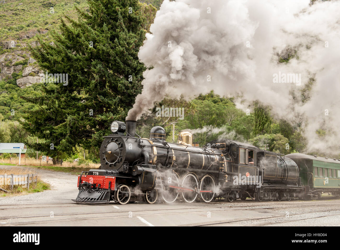 Kingston Flyer in Kingston, New Zealand. This well-preserved steam train from the 1870's , previously a popular Stock Photo