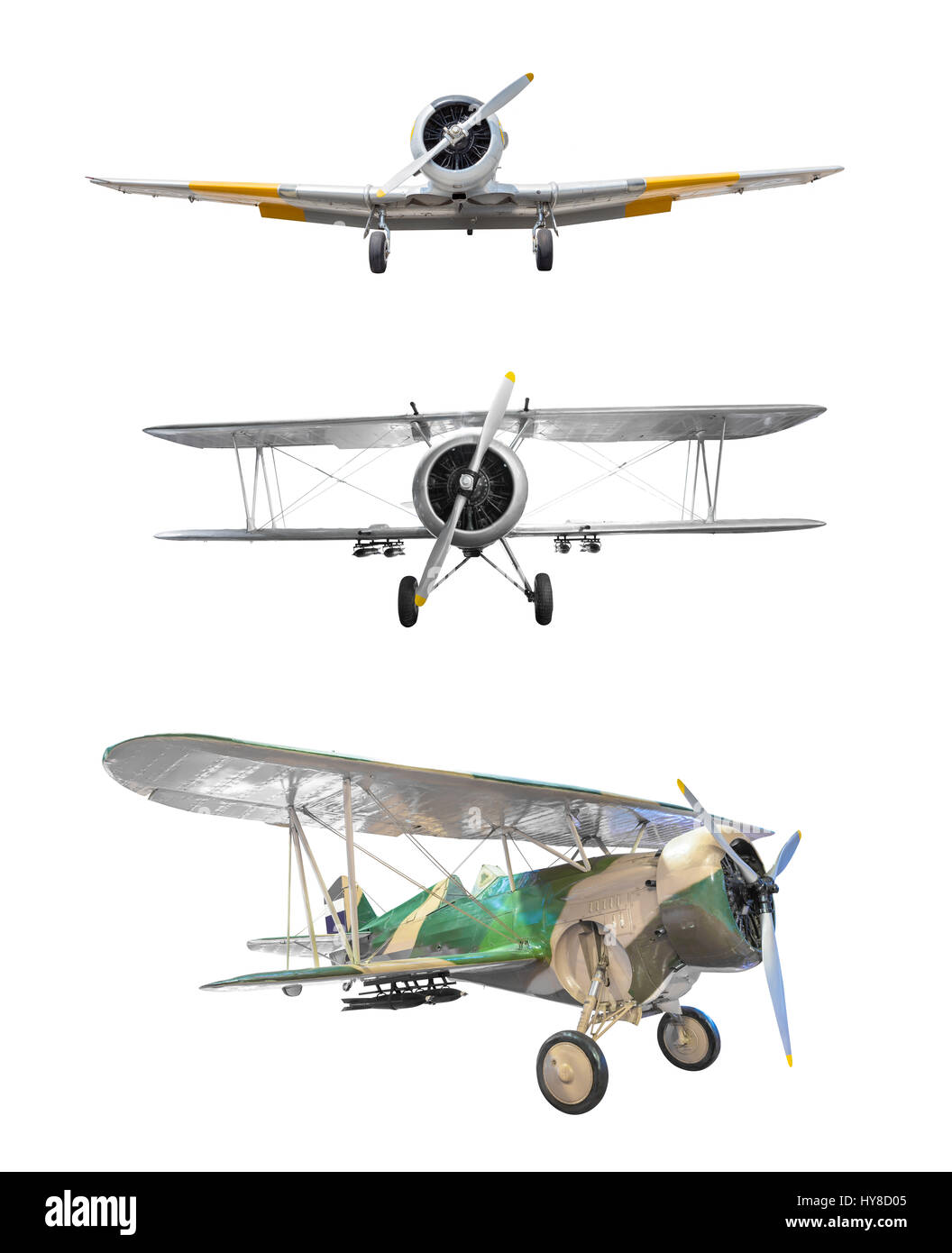 Old fighter plane collection isolated on white background - Stock Image