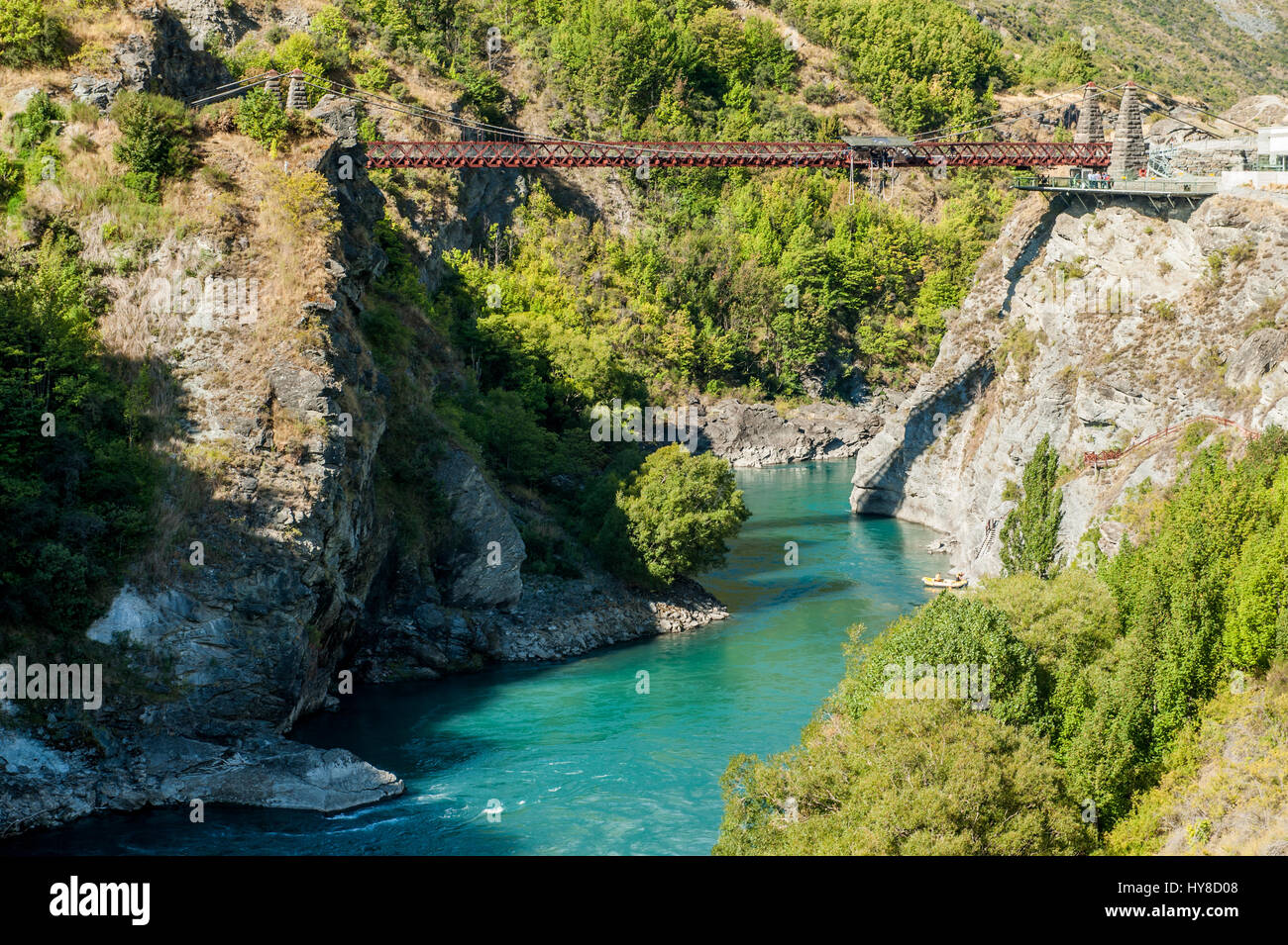 Kawarau Bridge near Queenstown. Commercial Bungy Jumping was born here in 1988 and every year tens of thousands - Stock Image