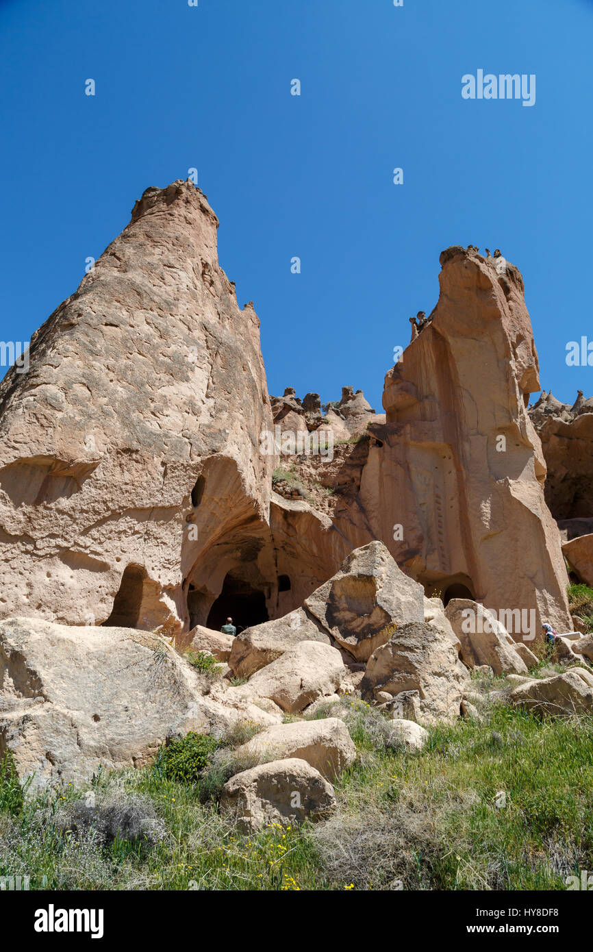 NEVSEHIR, TURKEY - MAY 8, 2016 : View of famous Zelve Open Air Museum with sandy fairy chimneys and tufa caves in - Stock Image