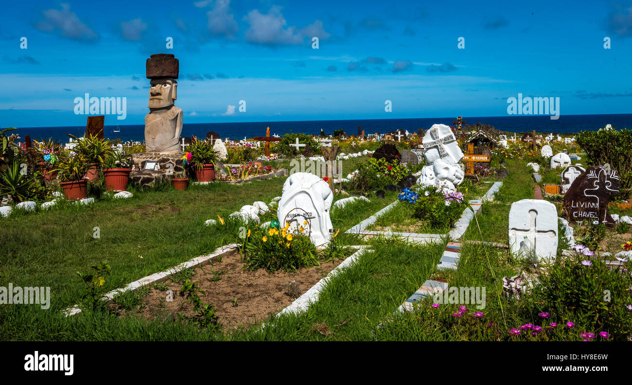 A view of the cemetary on Easter Island , Chile. - Stock Image