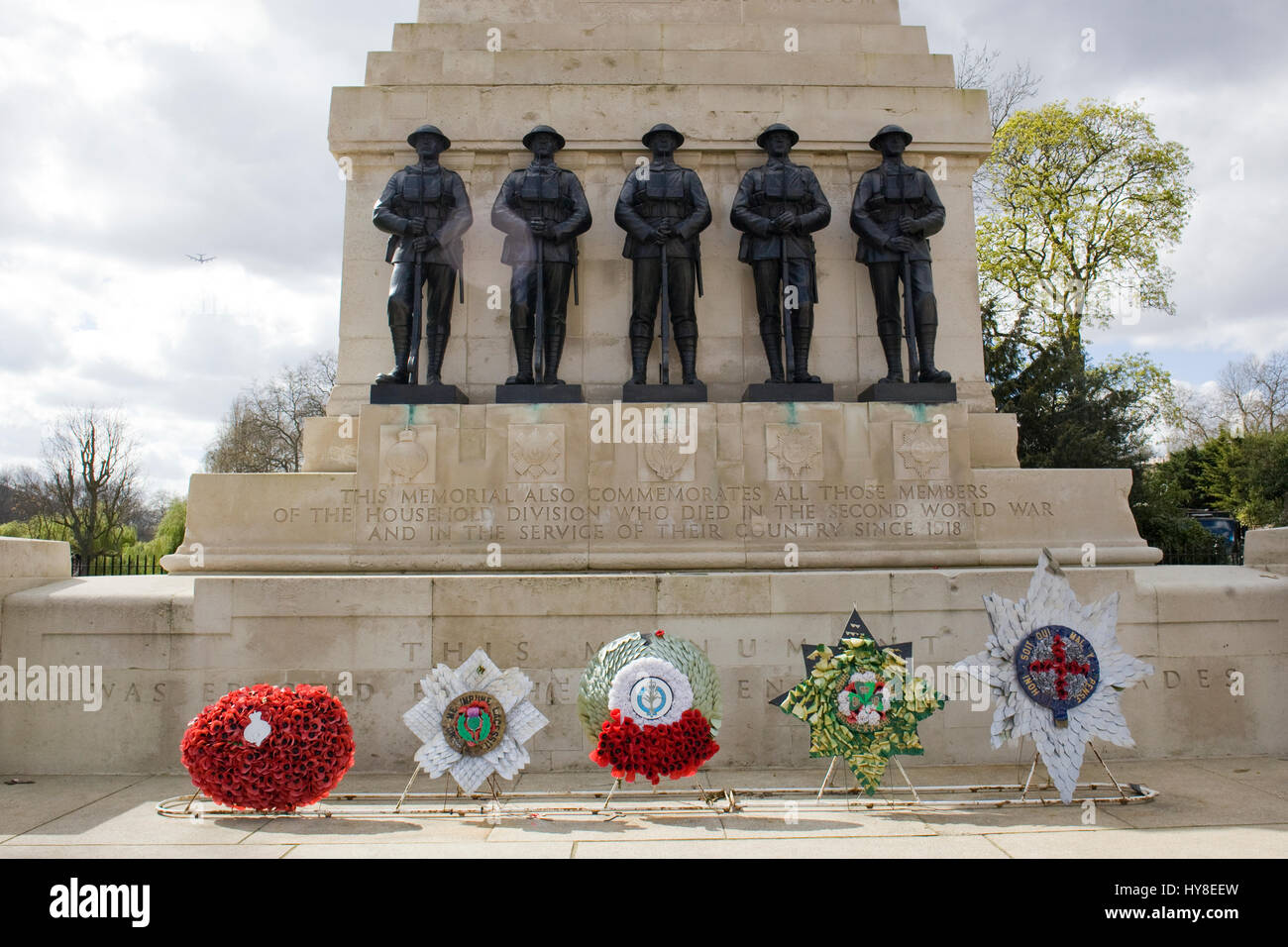 Household division memorial Opposite Horseguards Parade London - Stock Image
