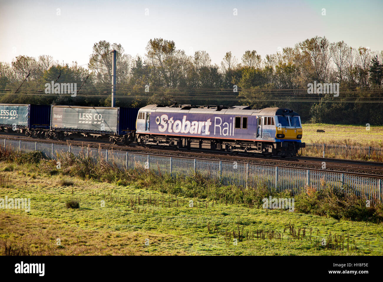 Stobart Rail liveried, (DBS), Class 92, 92017 'Bart the Engine'  at Winwick junction. - Stock Image