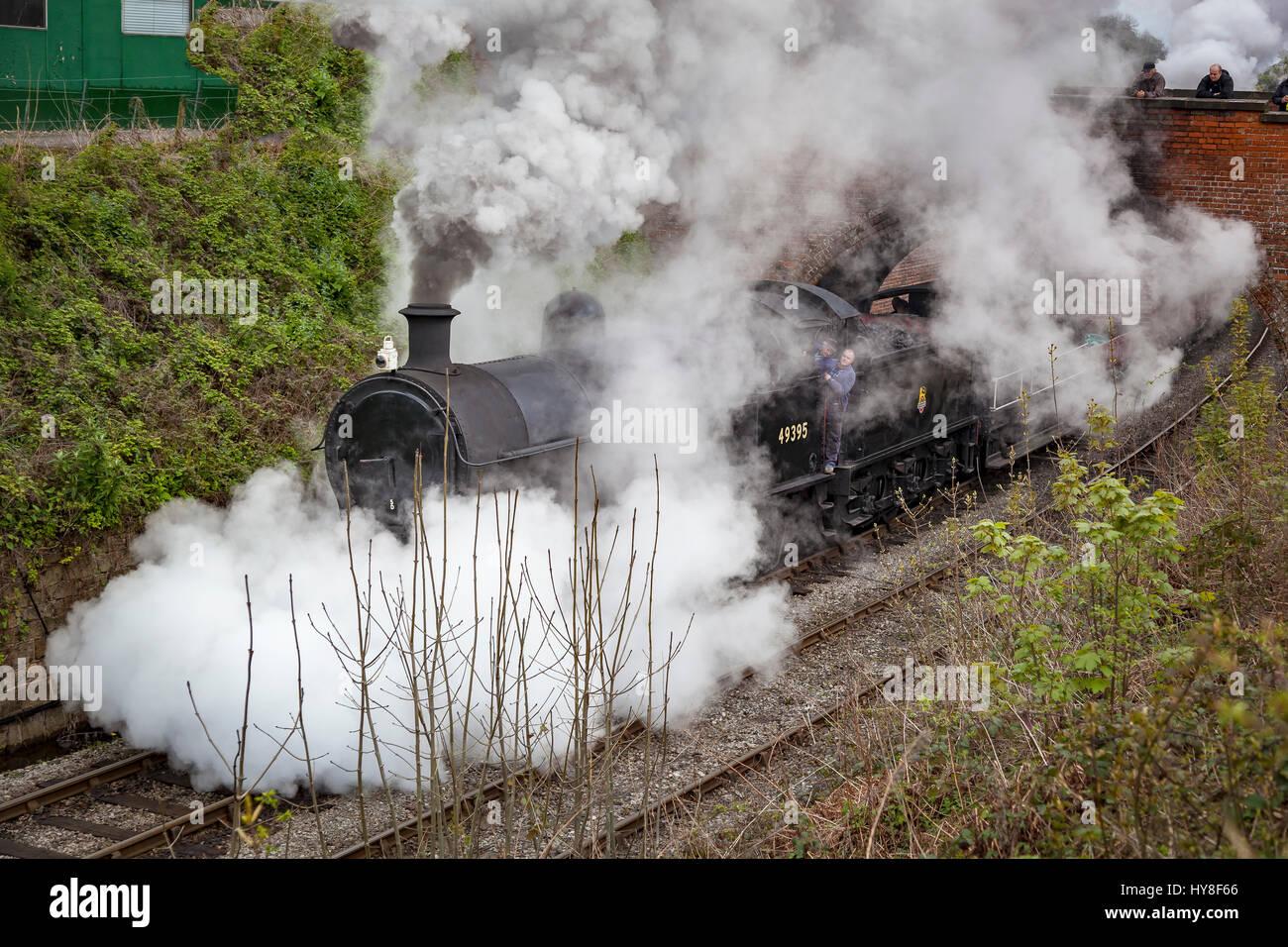 Llangollen railway. Ex LMS Class G2 0-8-0 SuperD No. 49395 at Llangollen station. Stock Photo