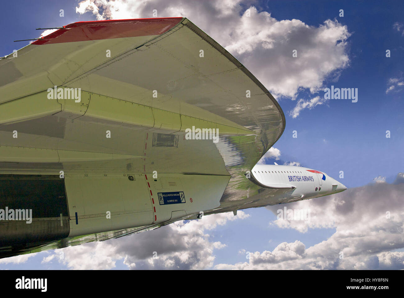 Concorde nose against blue sky and clouds. Airbrushed to simulate in flight. - Stock Image