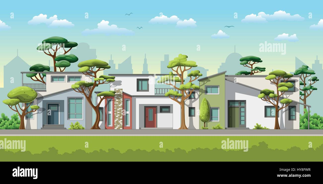 Illustration of three modern family house with trees - Stock Vector