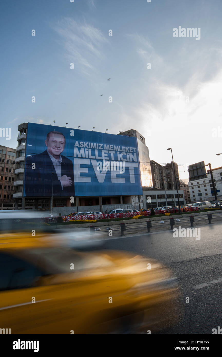 Turkish referendum posters of Yes campaign of Recep Tayyip Erdoğan in Istanbul Turkey - Stock Image