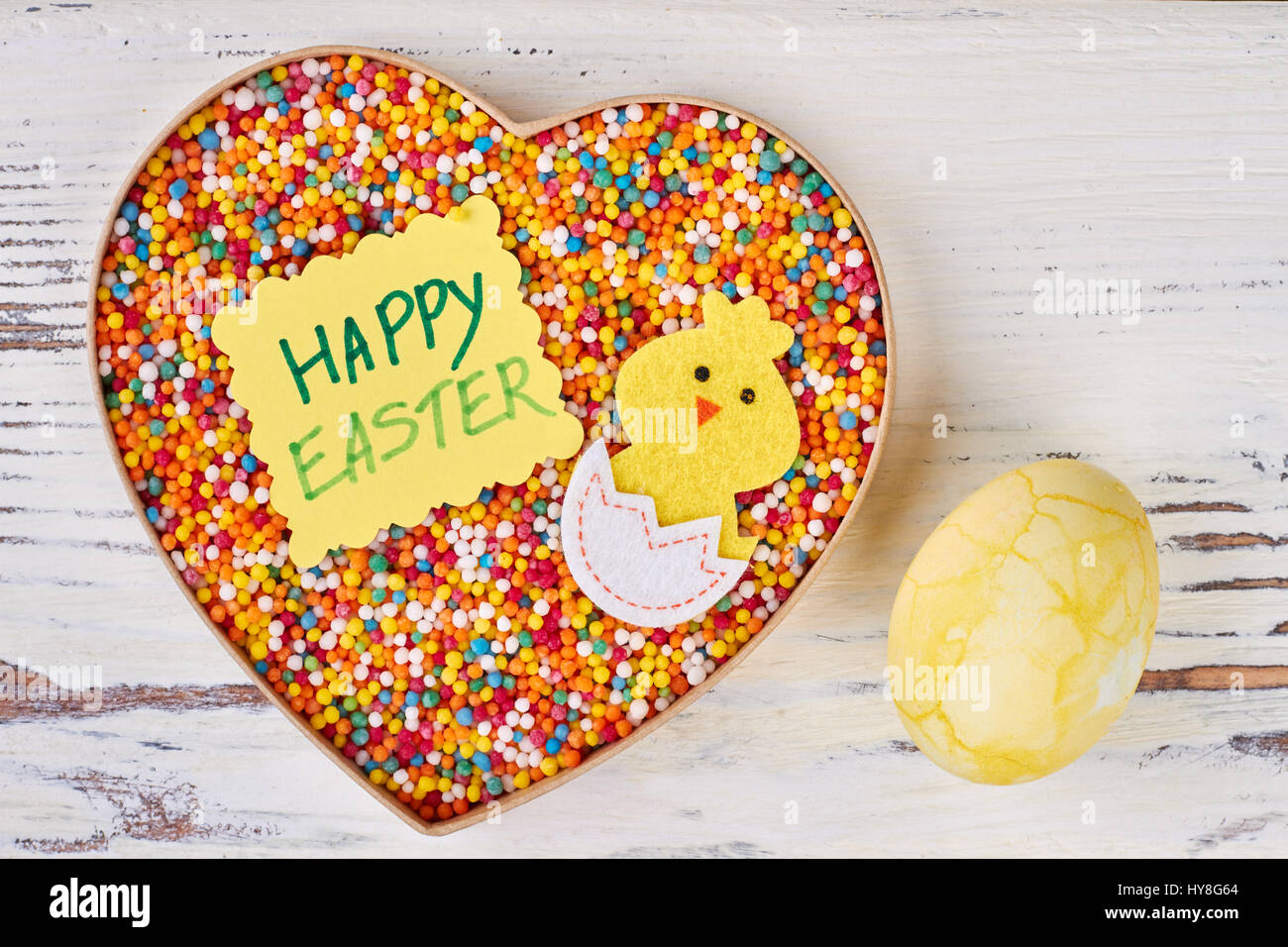 Easter greeting card and sweets dyed egg on white wood cute easter easter greeting card and sweets dyed egg on white wood cute easter gifts for girlfriend negle Image collections