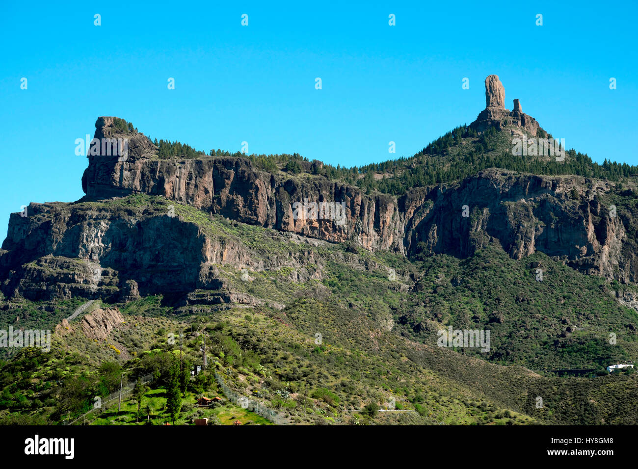 Outlook for Roque Nublo, Gran Canaria, Canary Islands, Spain - Stock Image