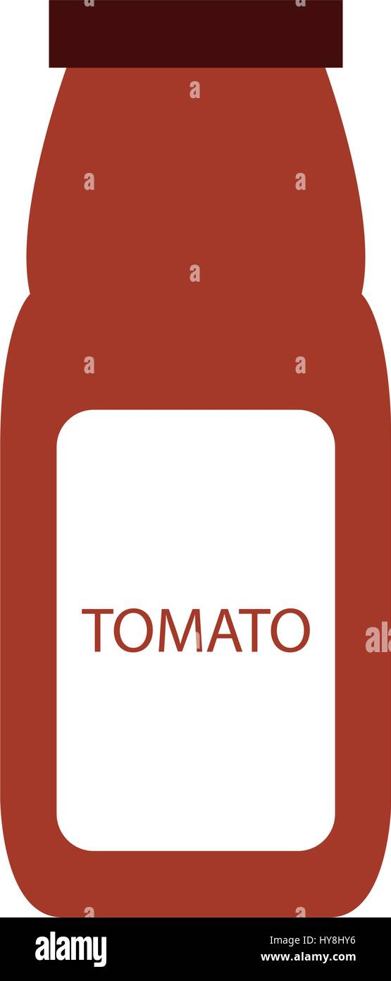 icon illustrated bottle of tomato on white background in vector - Stock Vector
