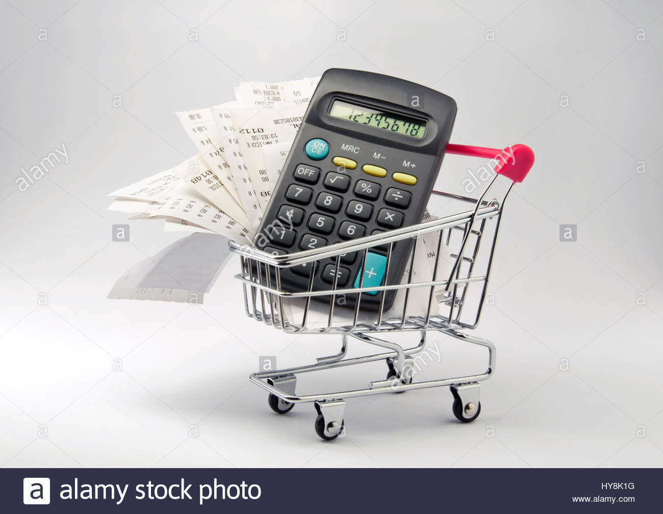 grocery list calculator stock photos grocery list calculator stock