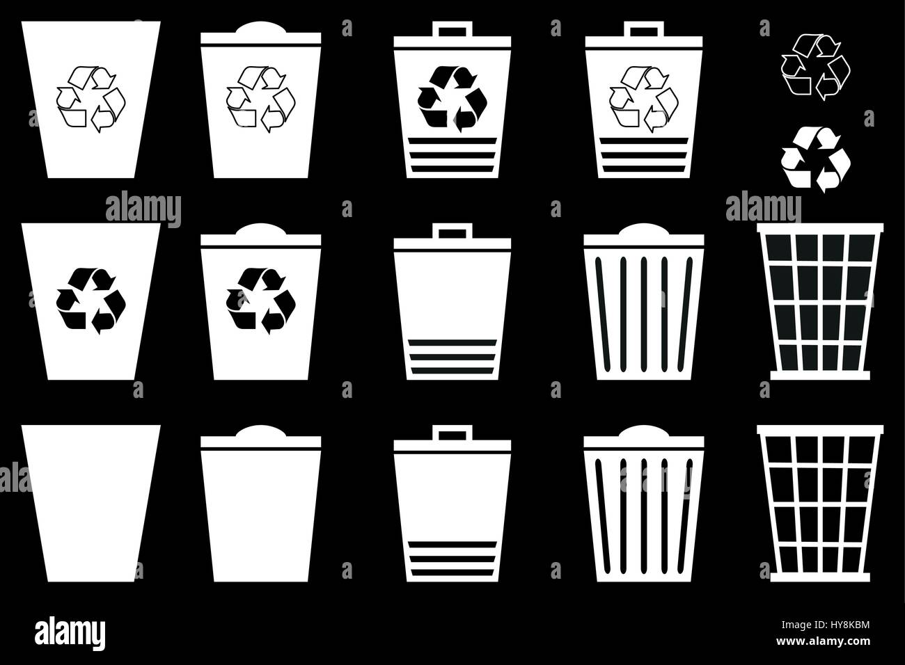 Waste bins - set, Vector Set Recycle Bins for Trash and Garbage, trash icon - Stock Vector