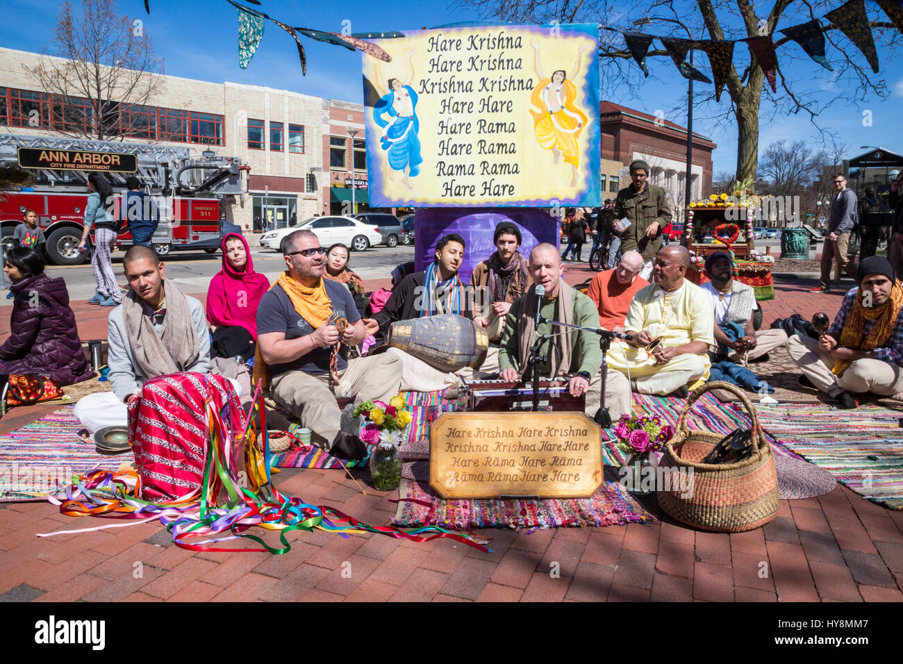 Ann Arbor, Michigan - Hare Krishna devotees chanting on the University of Michigan campus. Stock Photo