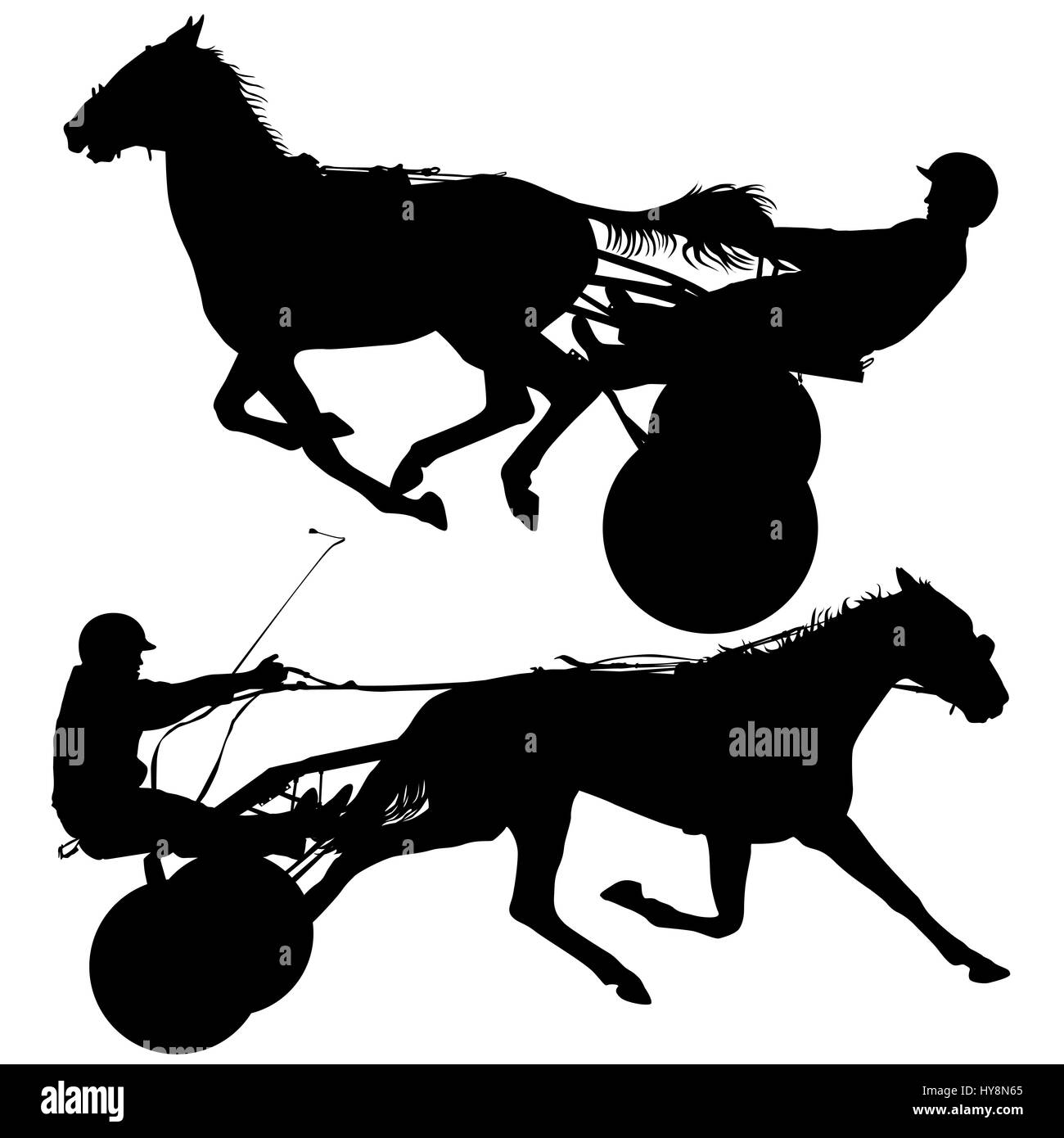 silhouette of horse and jockey - Stock Image