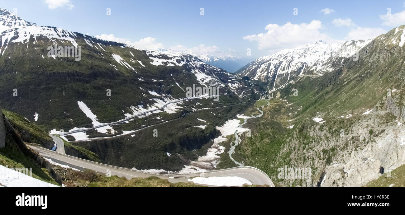 Switzerland: Canton Valais. View of the road to the Grimsel Pass. Stock Photo