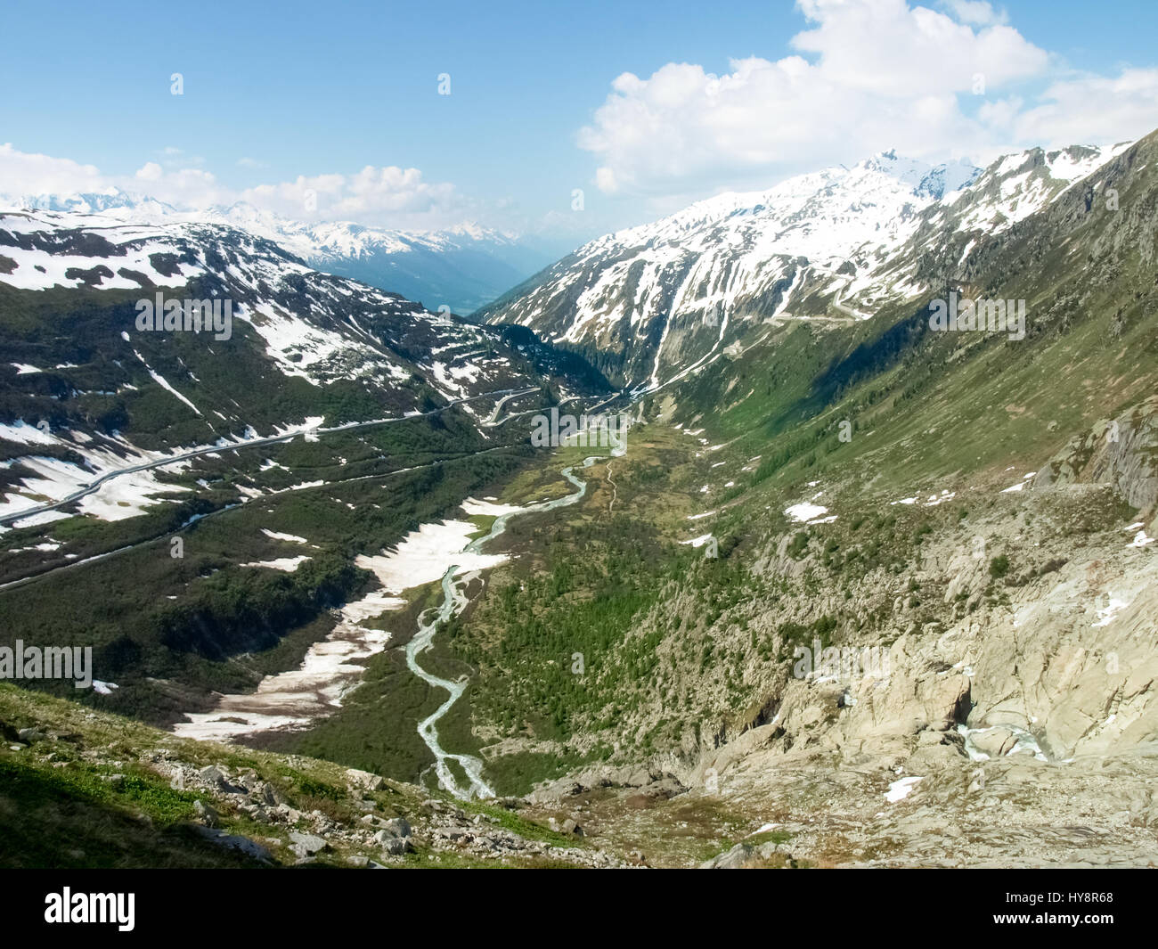 Switzerland: Canton Valais. Rhone glacier melting due to the melting of glaciers. Stock Photo