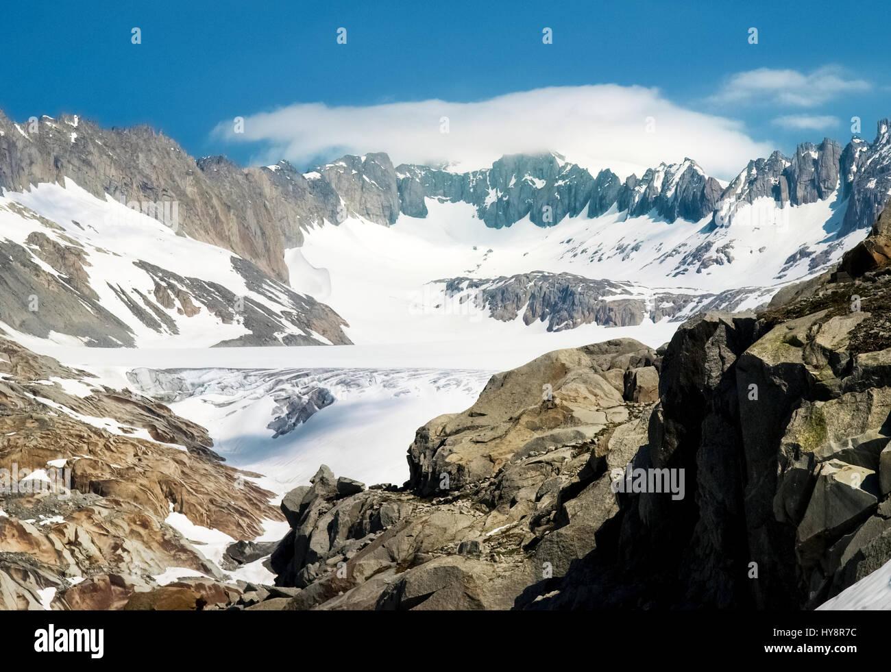 Switzerland: Canton Valais. Rhone glacier melting due to the melting of glaciers. Stock Photo
