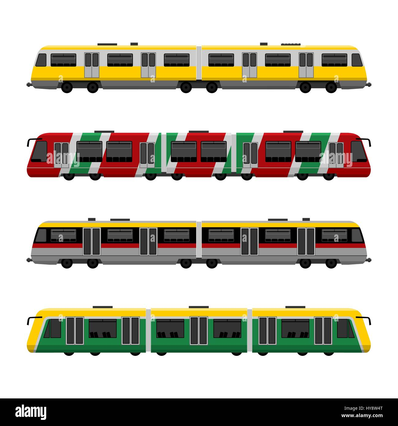 Modern high speed city subway trains vector set Stock Vector