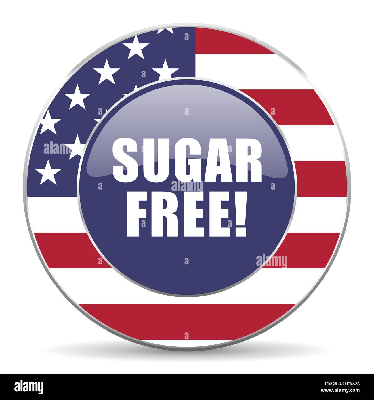 Sugar free usa design web american round internet icon with shadow on white background. Stock Photo