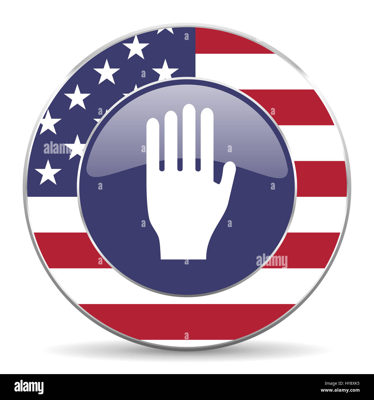 Stop usa design web american round internet icon with shadow on white background. - Stock Image