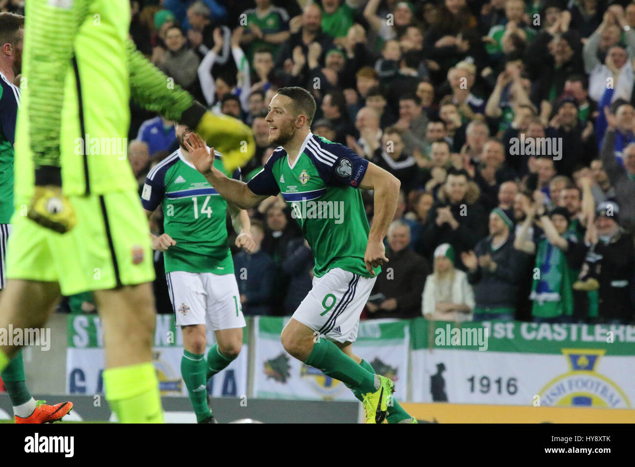 National Football Stadium at Windsor Park, Belfast. 26th March 2017. 2018 World Cup Qualifier - Northern Ireland - Stock Image