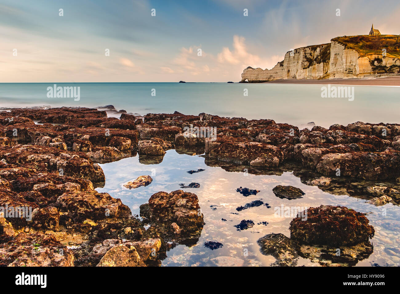 Spectacular natural cliffs Aval of Etretat and beautiful famous coastline, Normandy, France, Europe - Stock Image
