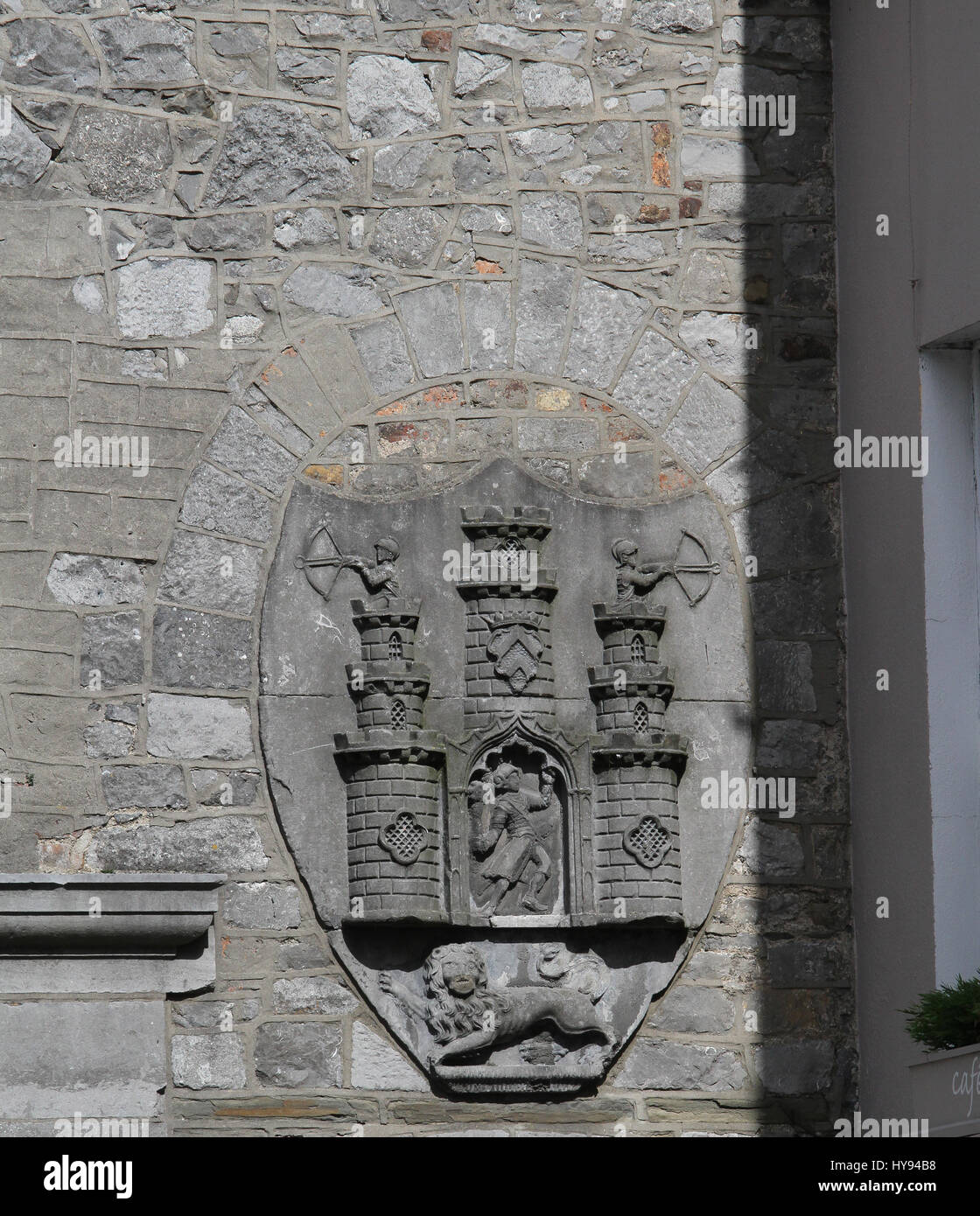 Historic moulding on the walls of The Tholsel in Kilkenny, Ireland.   The building was originally built for collecting - Stock Image