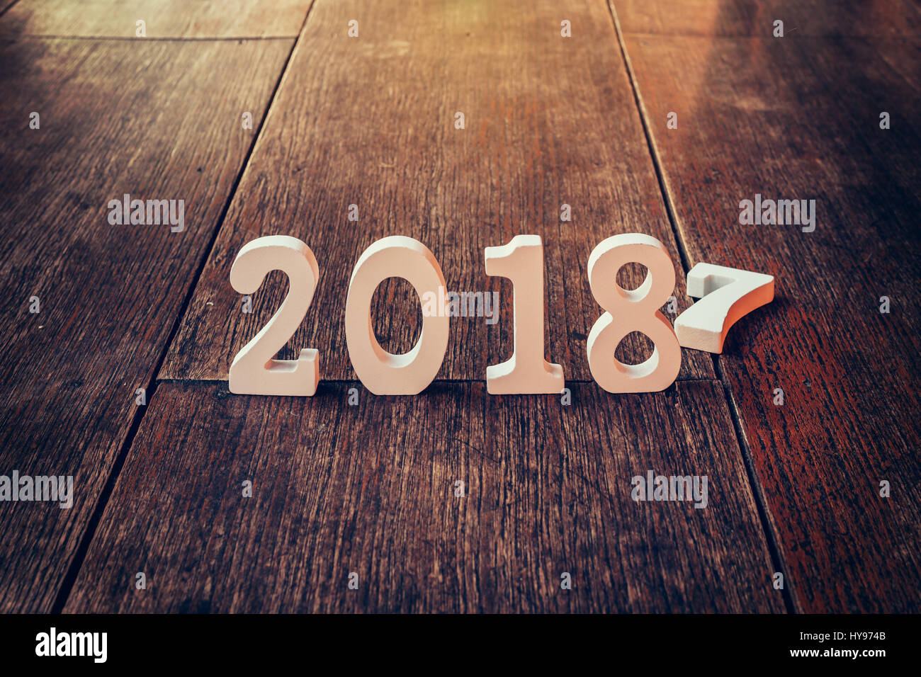 wooden numbers forming the number 2018 for the new year 2018 on a