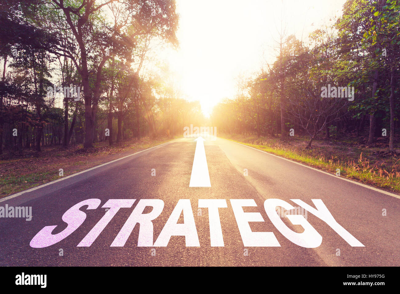 Empty asphalt road and Strategy concept. - Stock Image