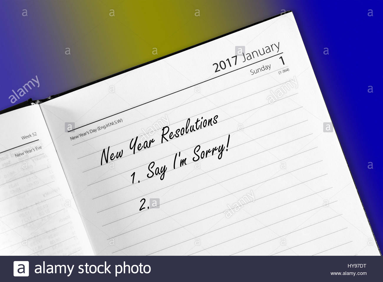 Say sorry, New Year Resolution Stock Photo: 137271732 - Alamy