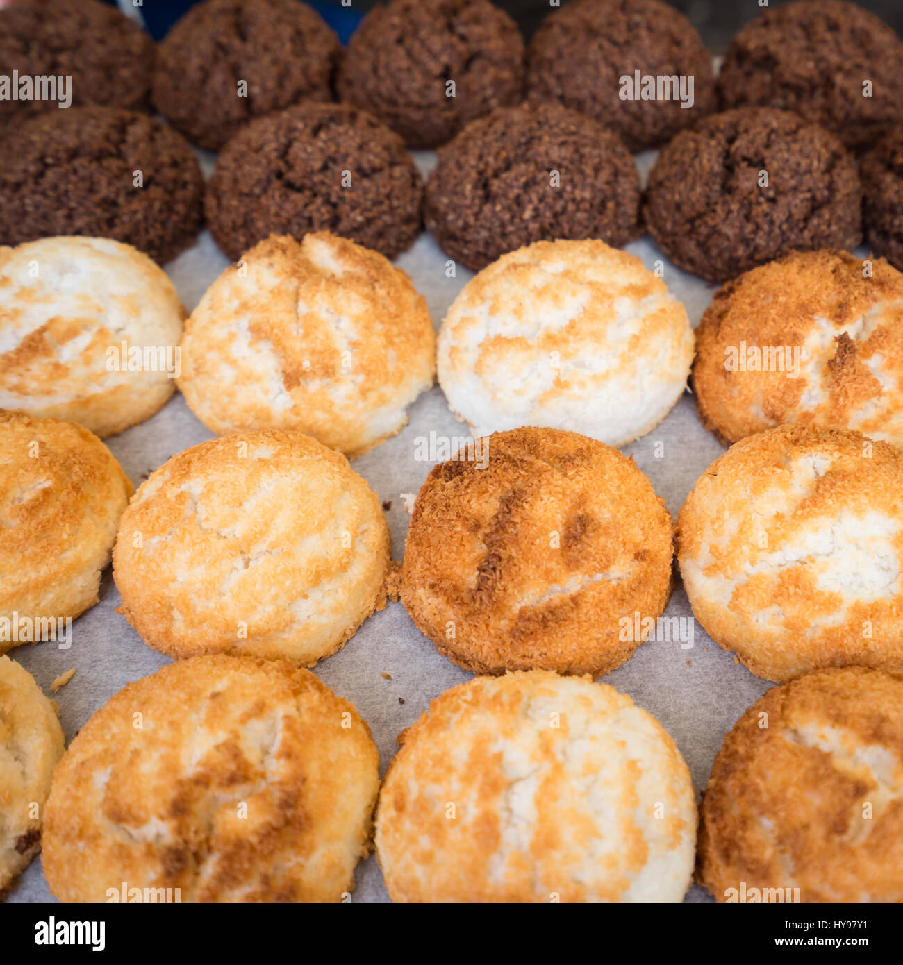 Sweet and Savory Grilled Coconut-Rice Hotcakes, Coconut Rice Cake and coconuts chocolate. - Stock Image