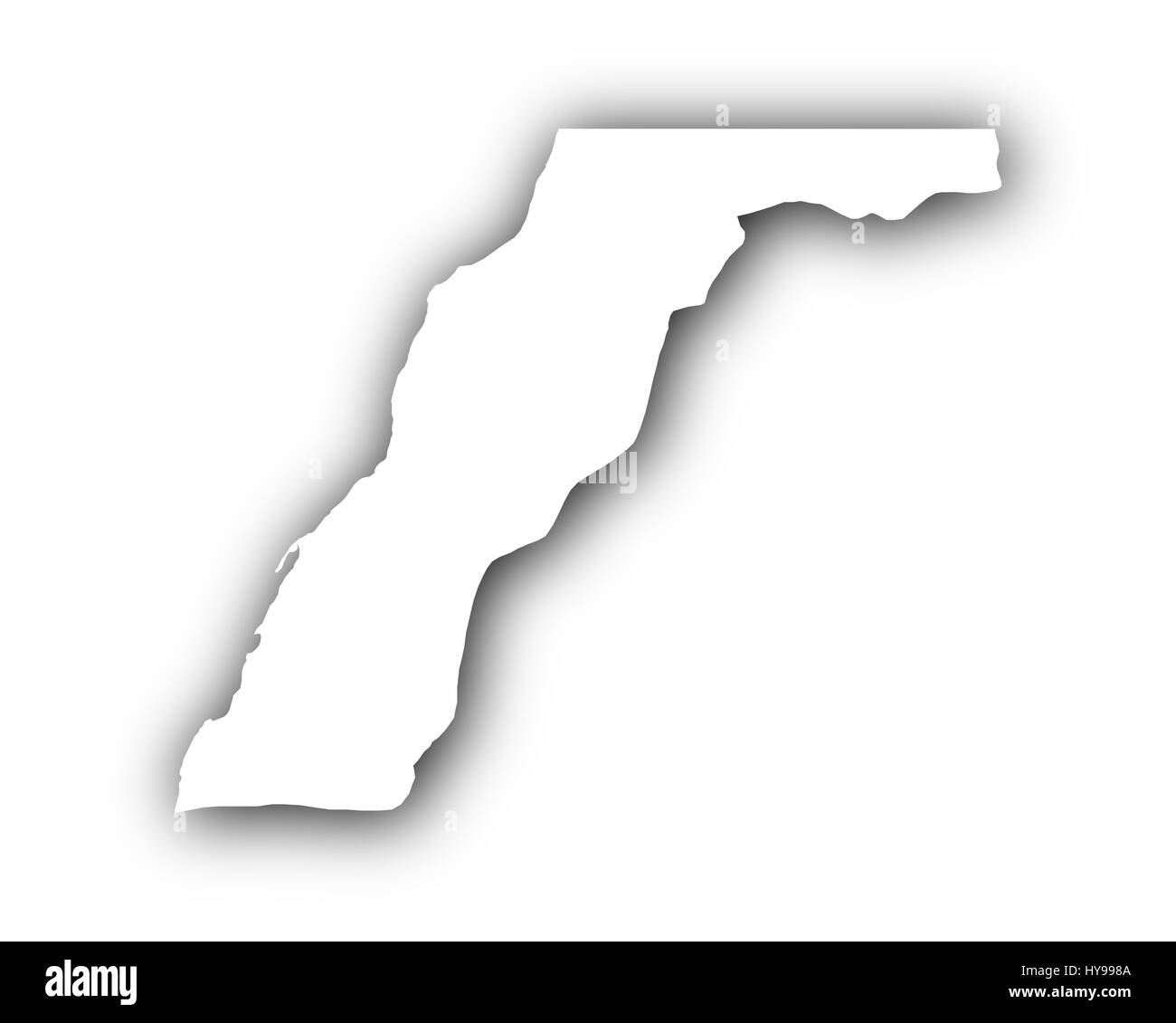 Map of Western Sahara with shadow - Stock Image