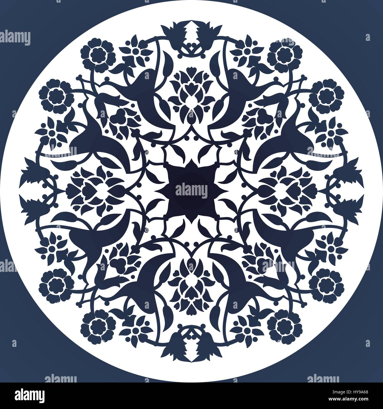Laser cut floral arabesque round ornament pattern vector Template ...