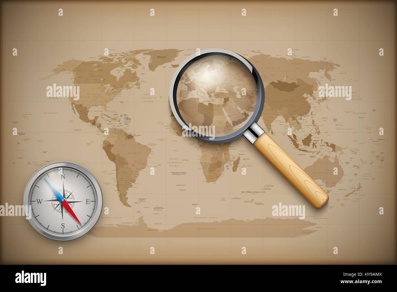 Vintage World Map with magnify and compass Stock Photo: 137274282