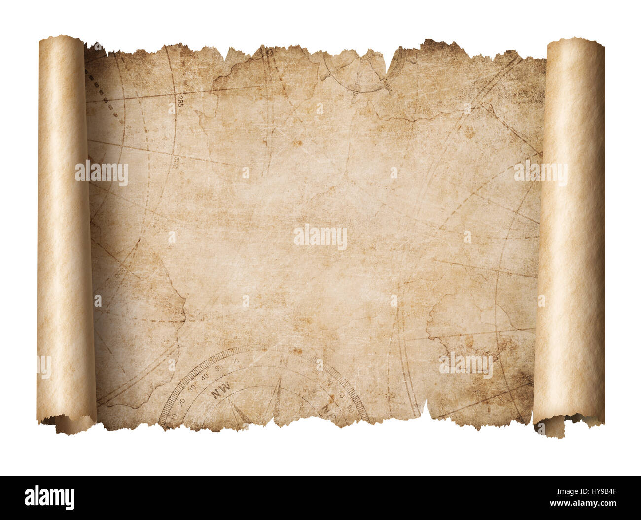 old treasure map scroll isolated 3d illustration - Stock Image