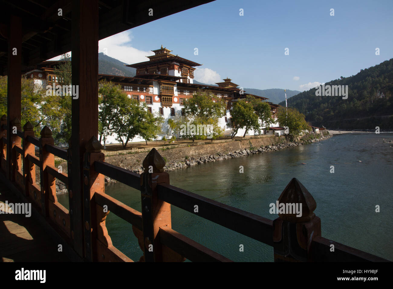 Punakha Dzong and Mo Chhu River from the covered bridge.  Punakha, Bhutan. - Stock Image