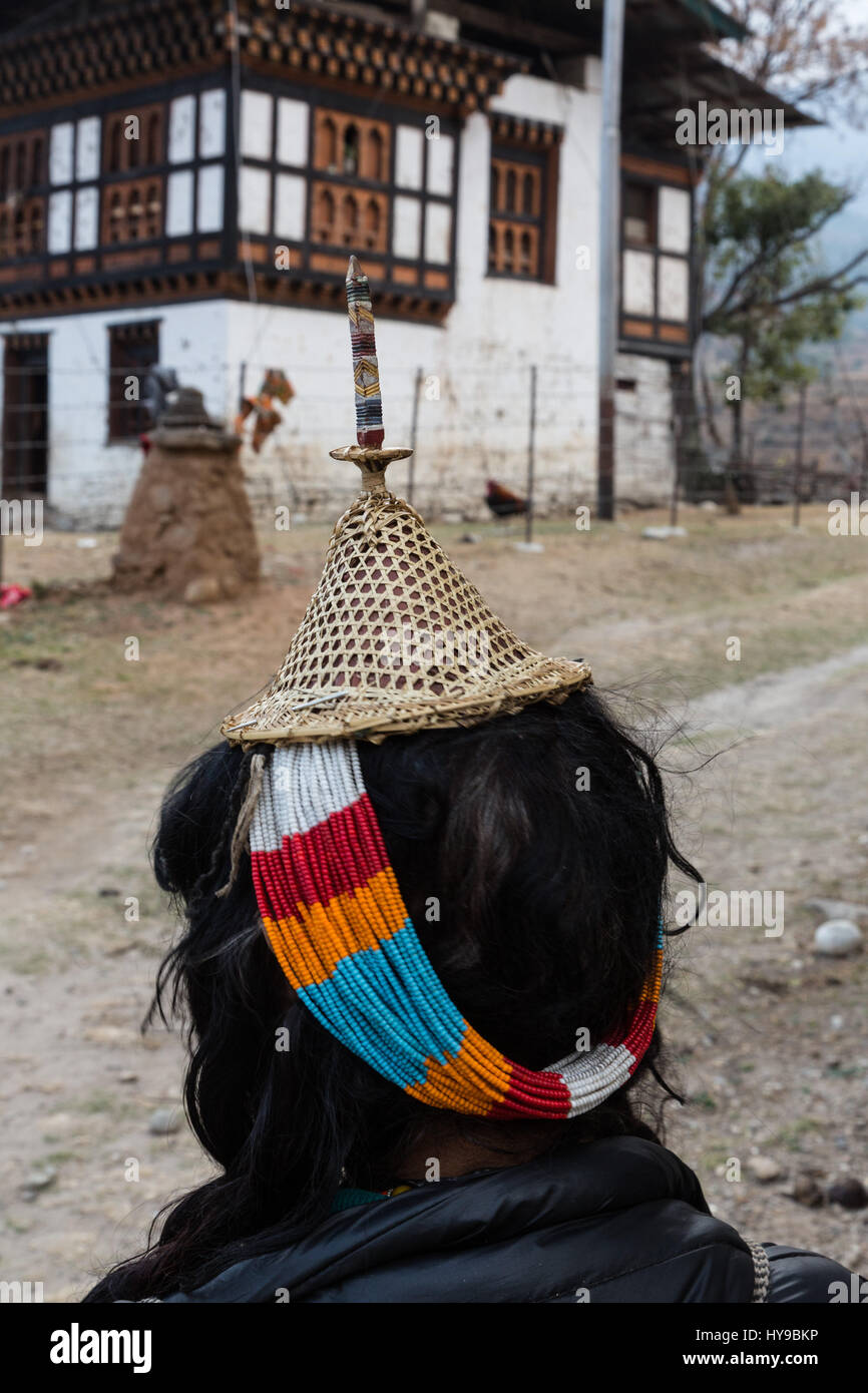 The conical bamboo hat of an  ethnic Layap woman.  The Layap are an semi-nomadic indigenous people from northwestern - Stock Image