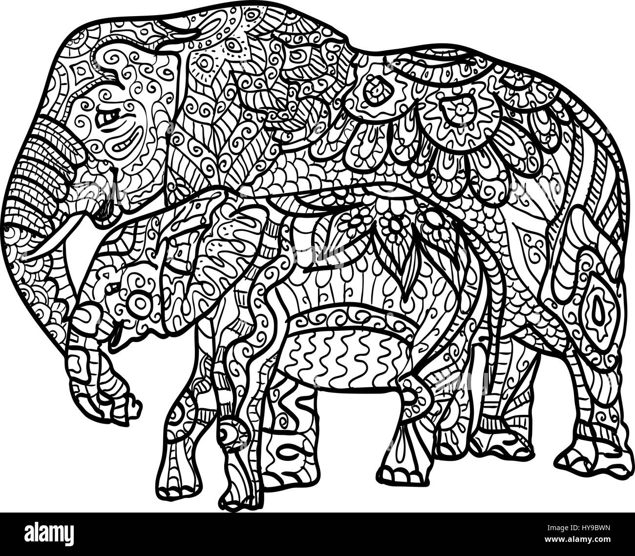 Anti stress and relaxing coloring elephants, filled fancy pattern ...