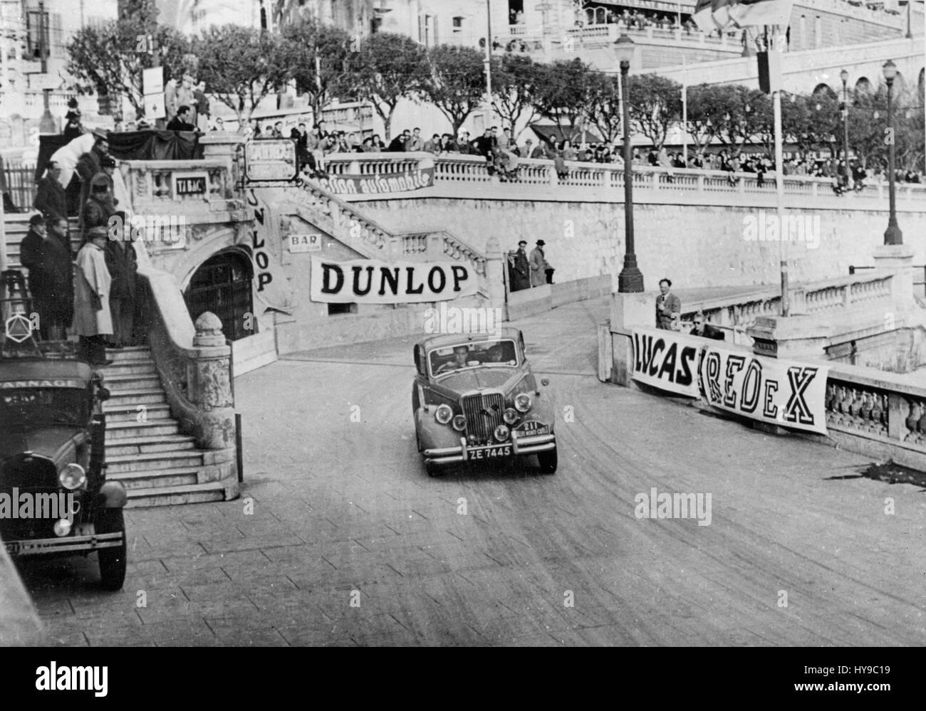 Jaguar Mk V Cecil Vard. 1951 Monte Carlo Rally - Stock Image