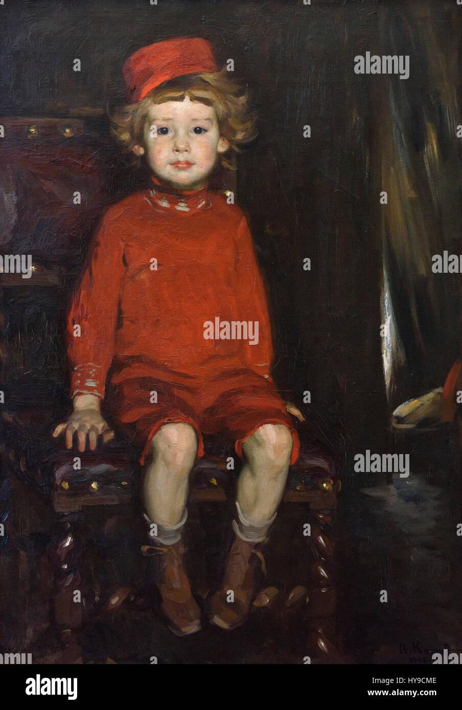 Arthur Kampf (1864-1950), Boy in Red, 1907. Knabe in Rot. - Stock Image
