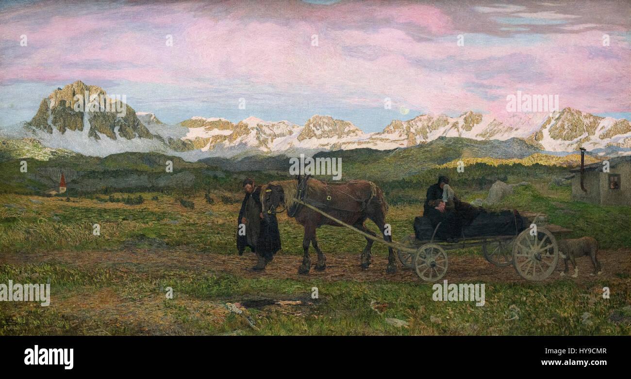 Giovanni Segantini (1858-1899), Returning Home, 1895. Rückkehr zur Heimat. - Stock Image