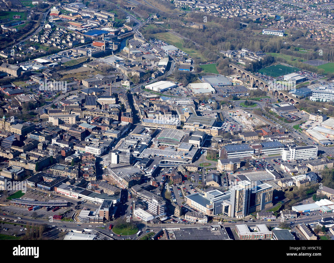 An aerial view of Burnley Town Centre, North West England ...
