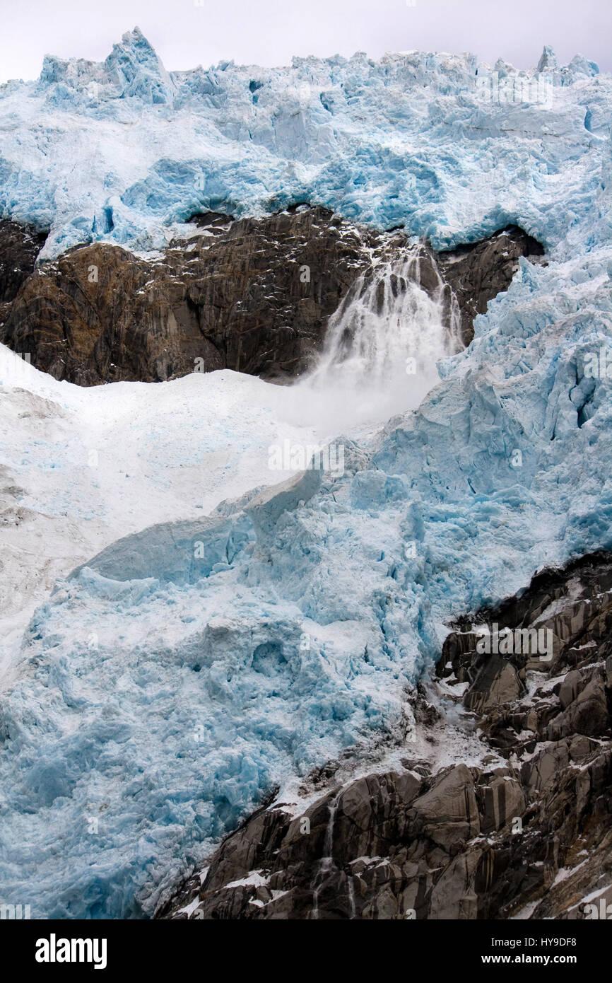 A glacier in Kenai Fjords National Park near Seward Alaska. - Stock Image