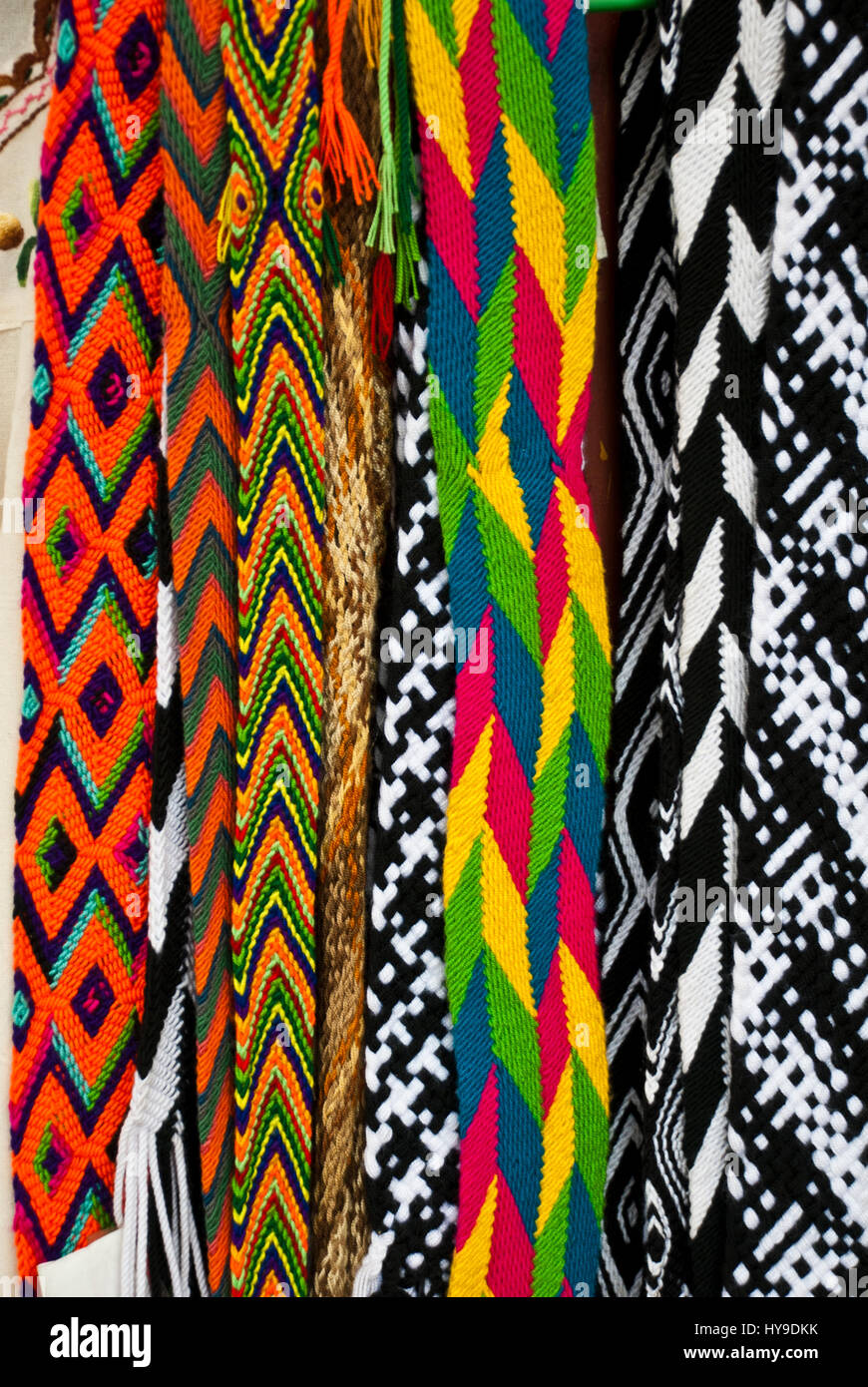 Accessories - Woven Belts - Textiles of Mexico - Craft and Indigenous Textiles - Stock Image