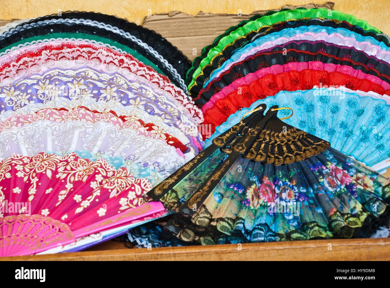 Street market - Personal accessory -  Folding Fan - Stock Image