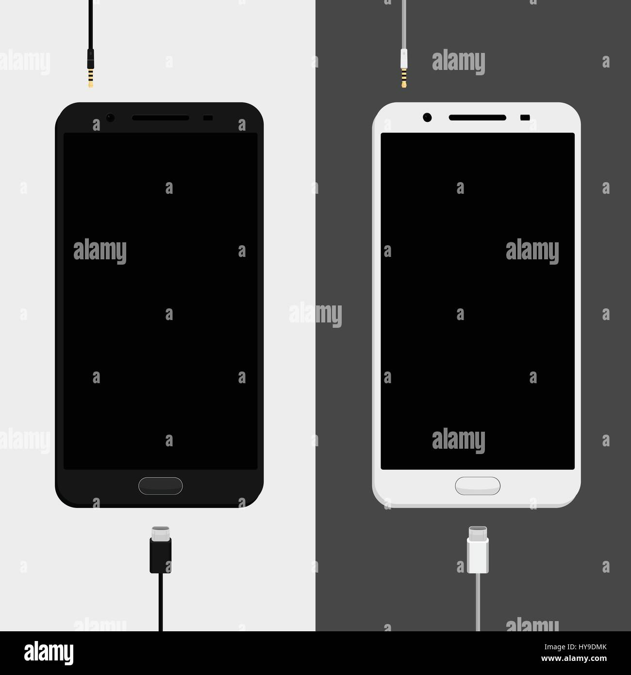 Two smartphones mockups, black and white versions with charge cables micro usb and earphones jack plug. Smartphones Stock Vector