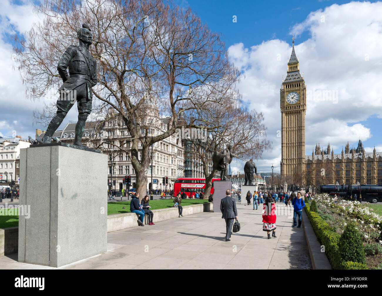 Houses of Parliament and Big Ben from Parliament Square, London, England, UK - Stock Image