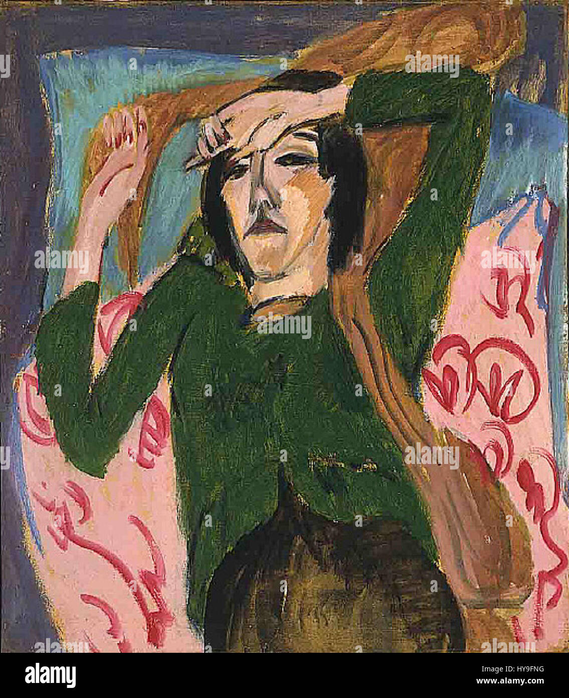 Ernst Ludwig Kirchner   Woman in a Green Blouse - Stock Image