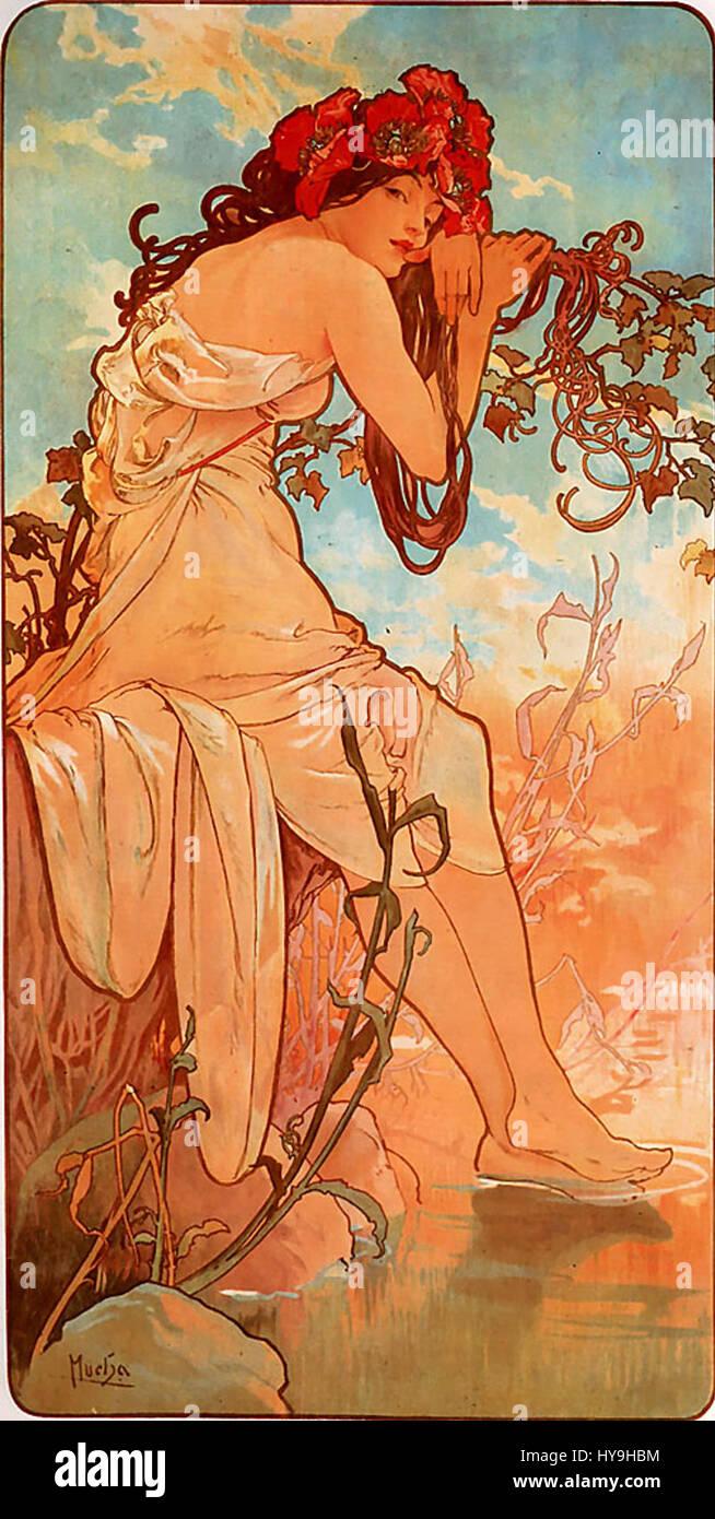 Alfons Mucha   1896   Summer - Stock Image